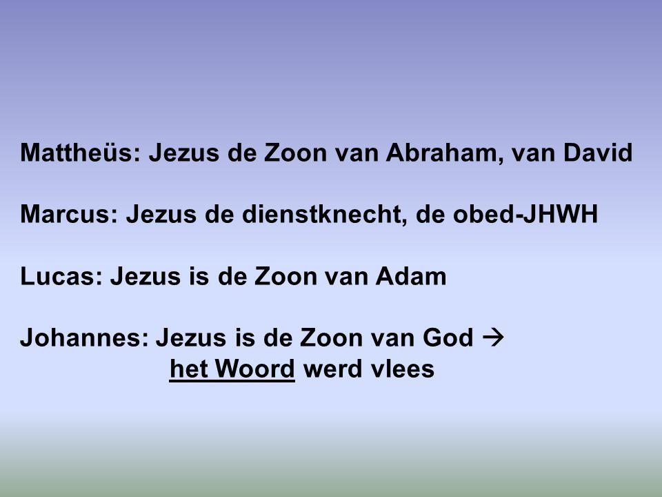Mattheüs: Jezus de Zoon van Abraham, van David Marcus: Jezus de dienstknecht, de obed-JHWH Lucas: Jezus is de Zoon van Adam Johannes: Jezus is de Zoon