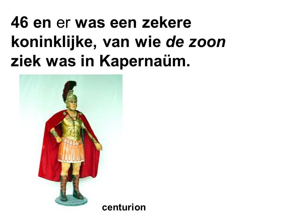 46 en er was een zekere koninklijke, van wie de zoon ziek was in Kapernaüm. centurion
