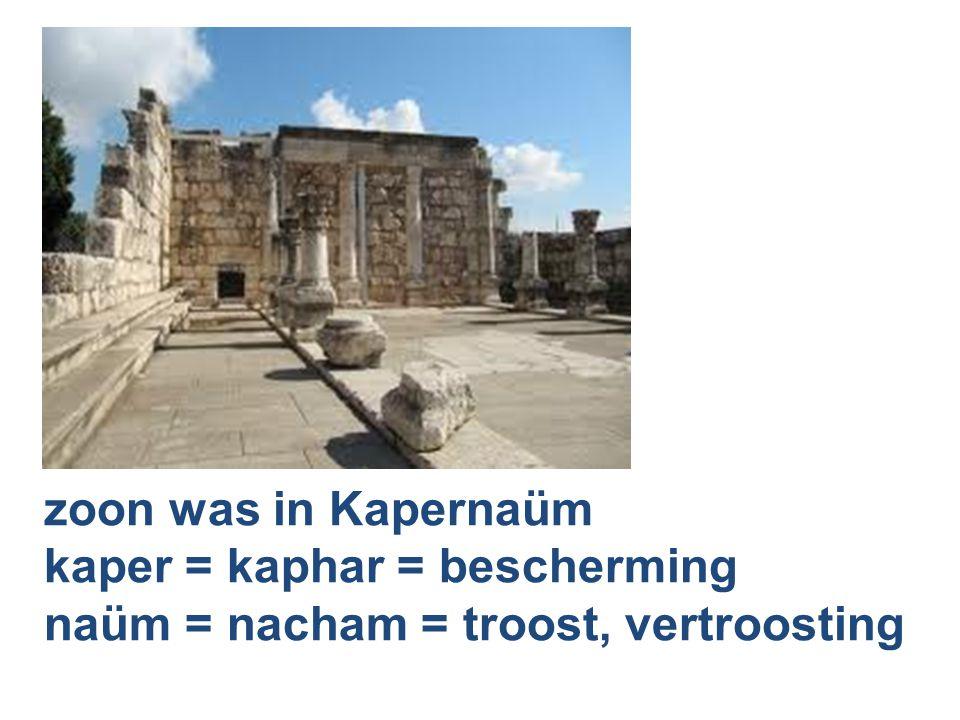 zoon was in Kapernaüm kaper = kaphar = bescherming naüm = nacham = troost, vertroosting