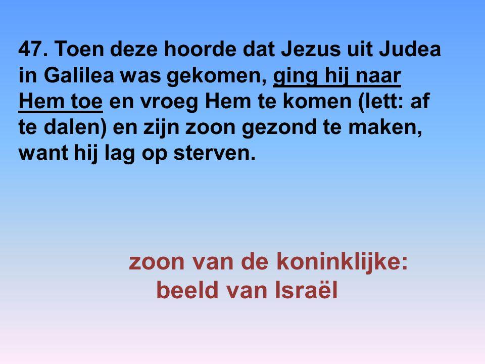 47. Toen deze hoorde dat Jezus uit Judea in Galilea was gekomen, ging hij naar Hem toe en vroeg Hem te komen (lett: af te dalen) en zijn zoon gezond t