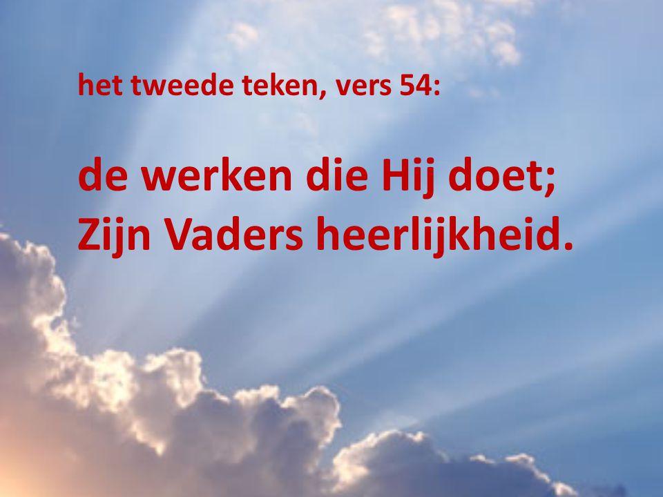 het tweede teken, vers 54: de werken die Hij doet; Zijn Vaders heerlijkheid.