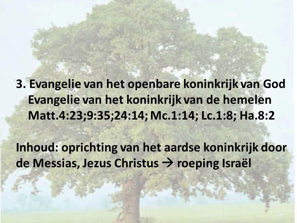 3. Evangelie van het openbare koninkrijk van God Evangelie van het koninkrijk van de hemelen Matt.4:23;9:35;24:14; Mc.1:14; Lc.1:8; Ha.8:2 Inhoud: opr