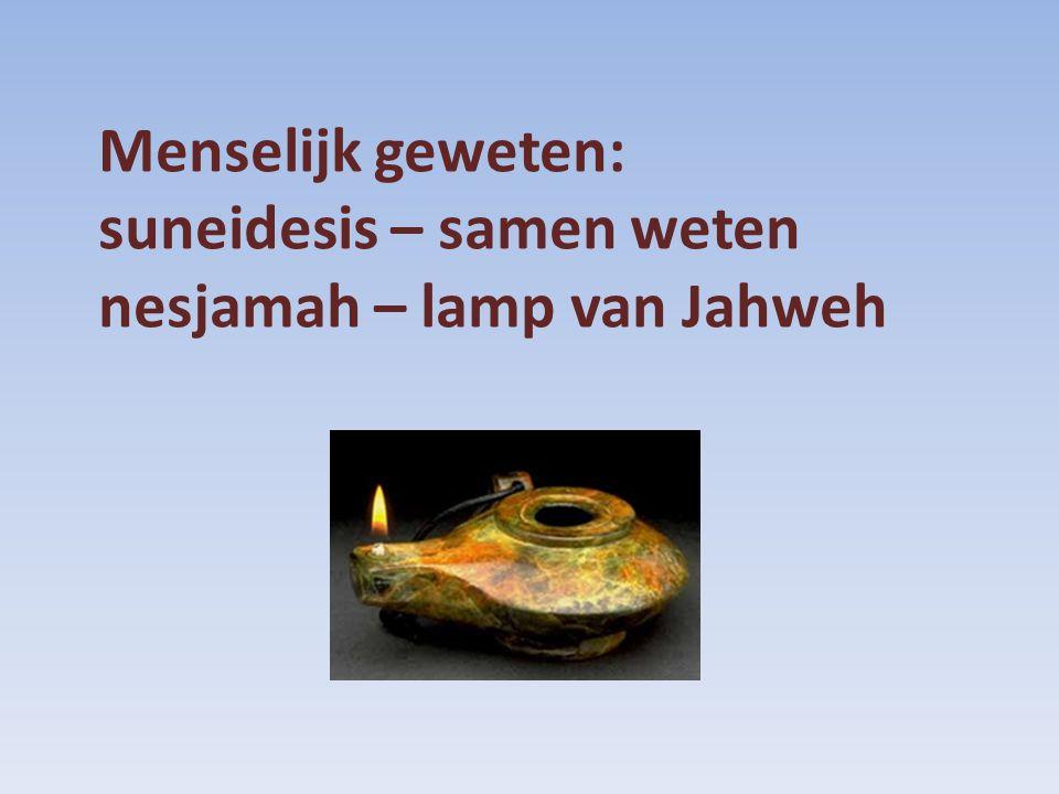 Menselijk geweten: suneidesis – samen weten nesjamah – lamp van Jahweh