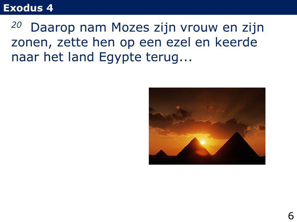 20 Daarop nam Mozes zijn vrouw en zijn zonen, zette hen op een ezel en keerde naar het land Egypte terug... Exodus 4 6
