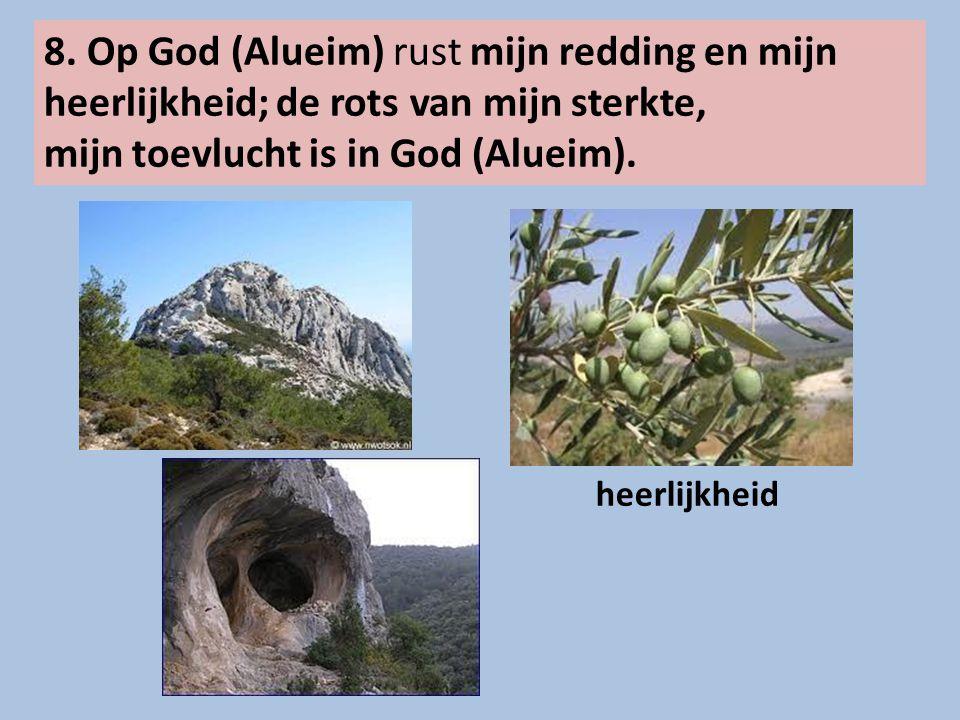 8. Op God (Alueim) rust mijn redding en mijn heerlijkheid; de rots van mijn sterkte, mijn toevlucht is in God (Alueim). heerlijkheid