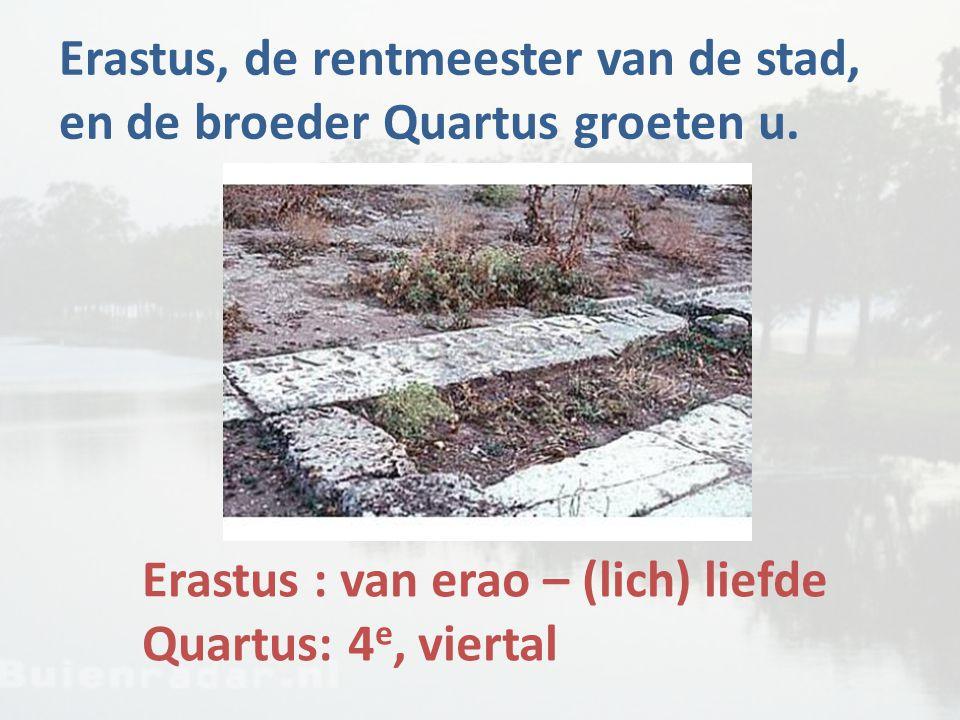 Erastus, de rentmeester van de stad, en de broeder Quartus groeten u.