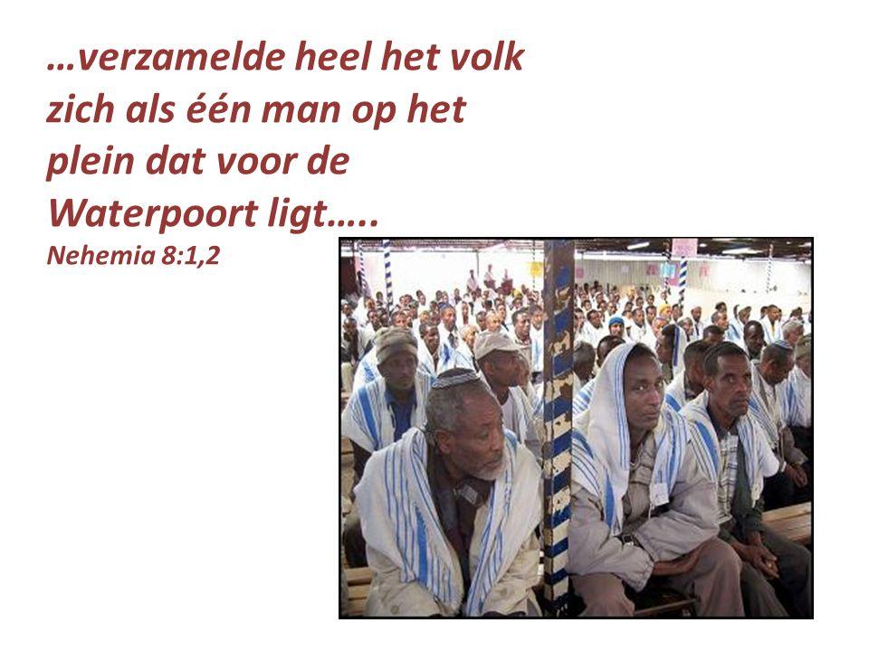 …verzamelde heel het volk zich als één man op het plein dat voor de Waterpoort ligt…..