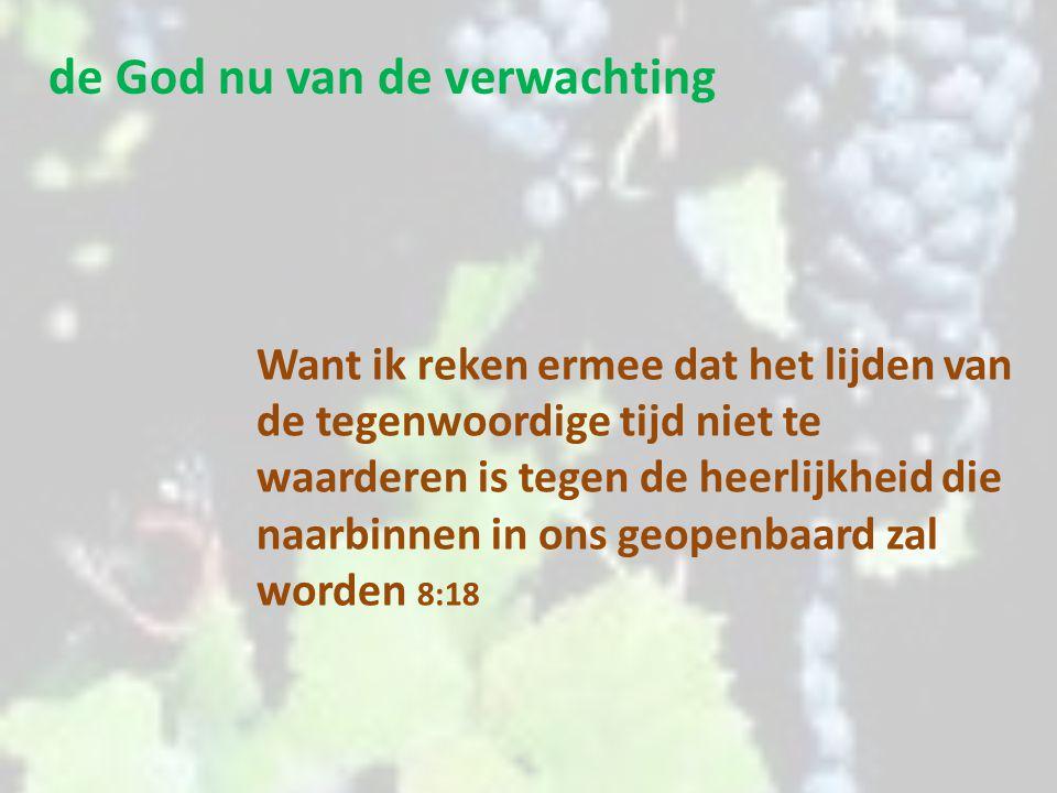 de God nu van de verwachting En wij weten dat voor hen die God liefhebben, God alle dingen doet meewerken ten goede, voor hen die overeenkomstig Zijn voornemen geroepen zijn.