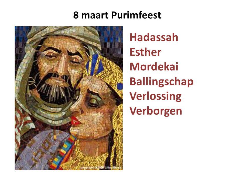 Hadassah Esther Mordekai Ballingschap Verlossing Verborgen 8 maart Purimfeest