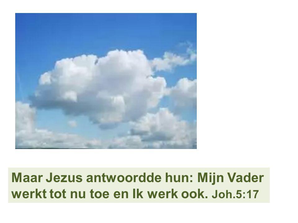 Maar Jezus antwoordde hun: Mijn Vader werkt tot nu toe en Ik werk ook. Joh.5:17