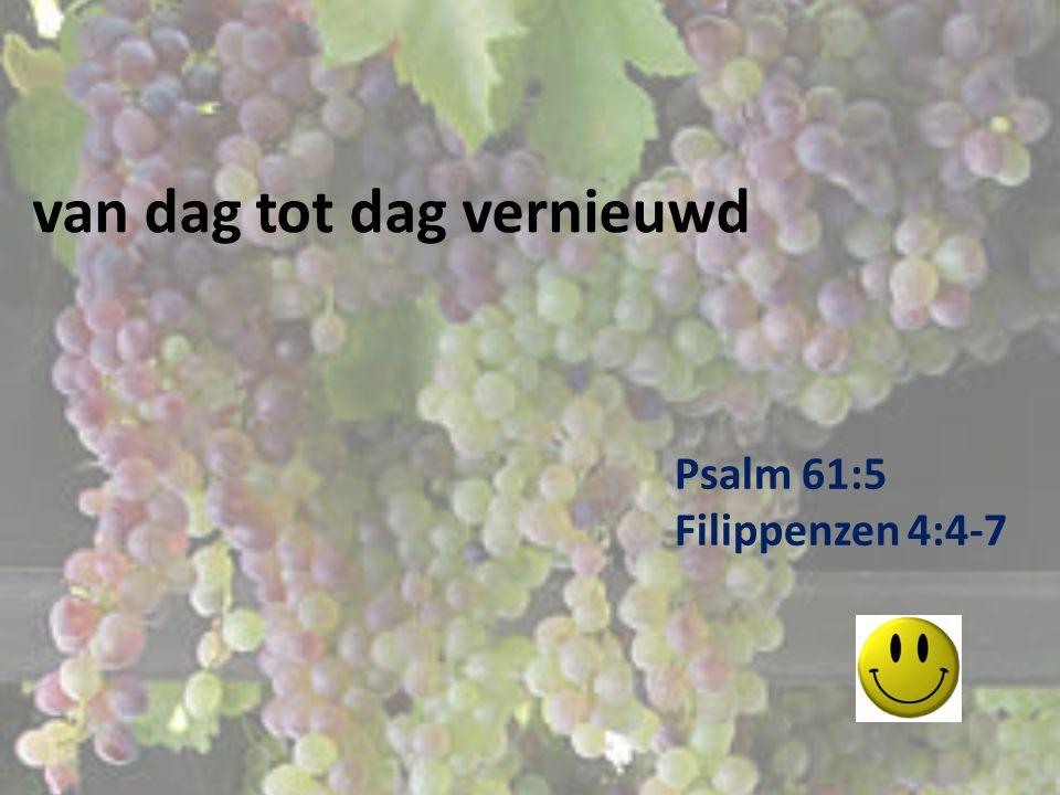 van dag tot dag vernieuwd Psalm 61:5 Filippenzen 4:4-7