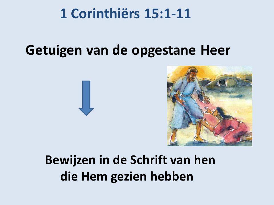 1 Corinthiërs 15:1-11 Getuigen van de opgestane Heer Bewijzen in de Schrift van hen die Hem gezien hebben