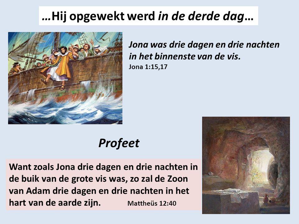 …Hij opgewekt werd in de derde dag… Jona was drie dagen en drie nachten in het binnenste van de vis.