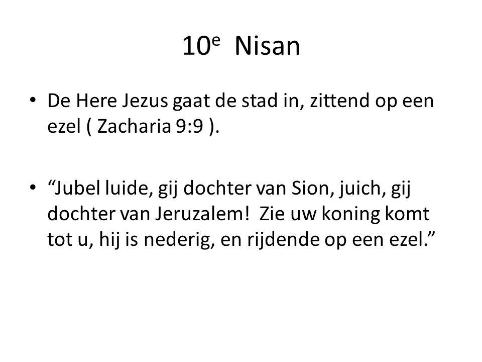 10 e Nisan De Here Jezus gaat de stad in, zittend op een ezel ( Zacharia 9:9 ).