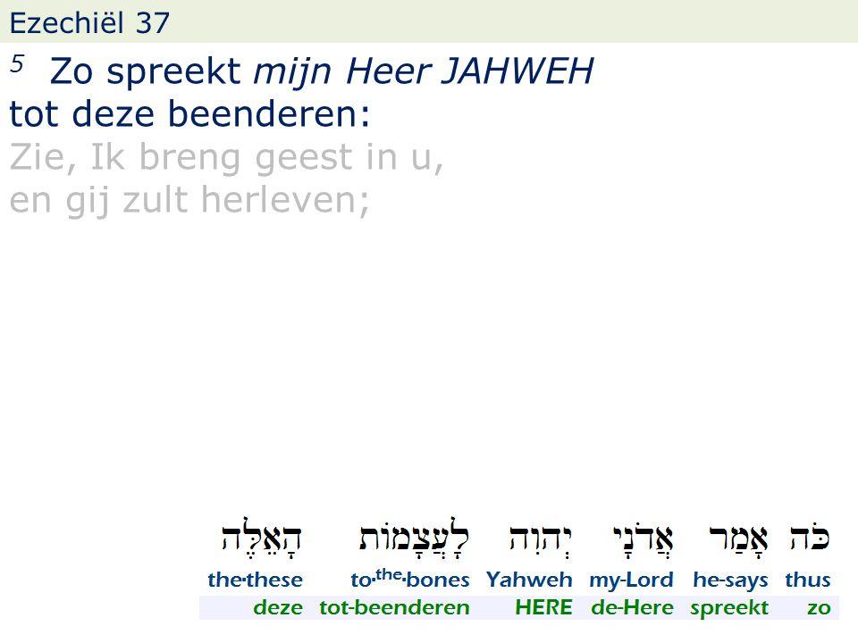 Ezechiël 37 5 Zo spreekt mijn Heer JAHWEH tot deze beenderen: Zie, Ik breng geest in u, en gij zult herleven;