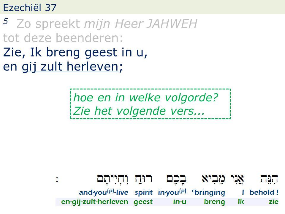 Ezechiël 37 5 Zo spreekt mijn Heer JAHWEH tot deze beenderen: Zie, Ik breng geest in u, en gij zult herleven; hoe en in welke volgorde.