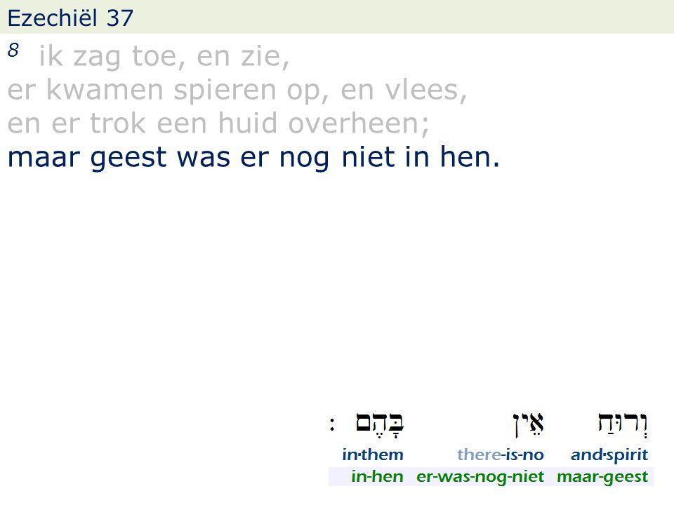 Ezechiël 37 8 ik zag toe, en zie, er kwamen spieren op, en vlees, en er trok een huid overheen; maar geest was er nog niet in hen.