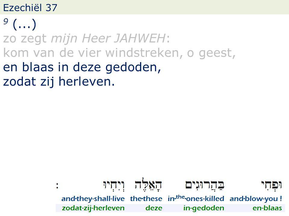 Ezechiël 37 9 (...) zo zegt mijn Heer JAHWEH: kom van de vier windstreken, o geest, en blaas in deze gedoden, zodat zij herleven.