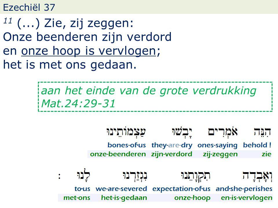 Ezechiël 37 11 (...) Zie, zij zeggen: Onze beenderen zijn verdord en onze hoop is vervlogen; het is met ons gedaan. aan het einde van de grote verdruk
