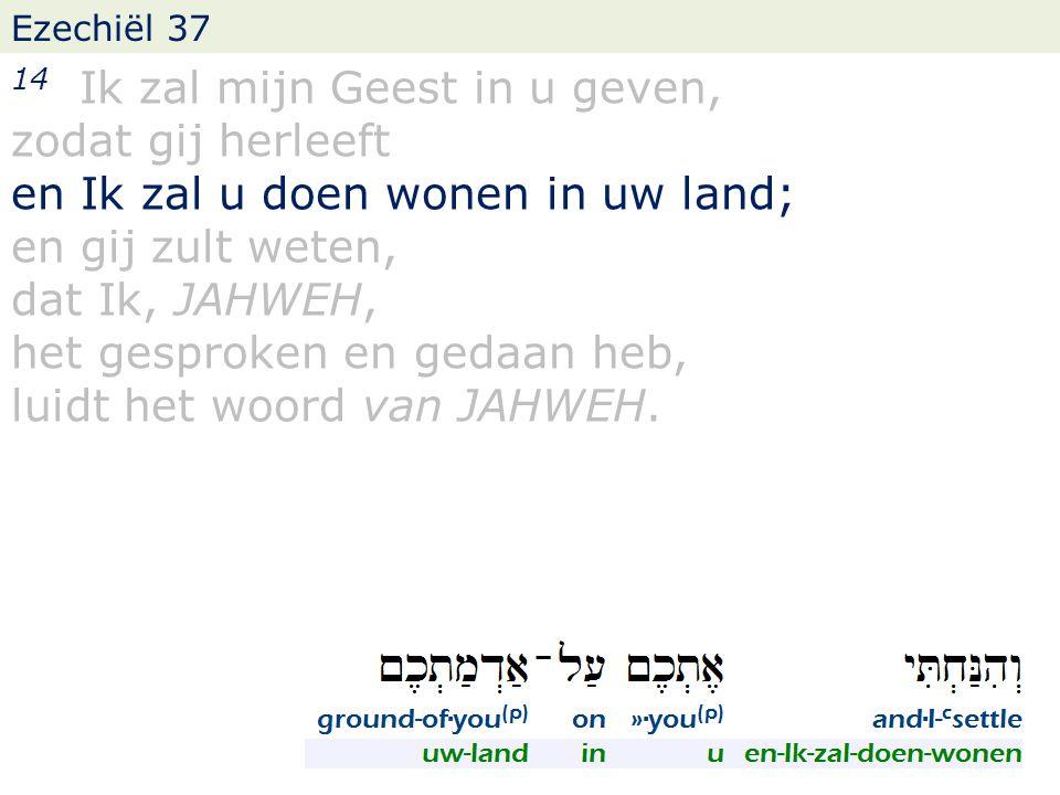 Ezechiël 37 14 Ik zal mijn Geest in u geven, zodat gij herleeft en Ik zal u doen wonen in uw land; en gij zult weten, dat Ik, JAHWEH, het gesproken en