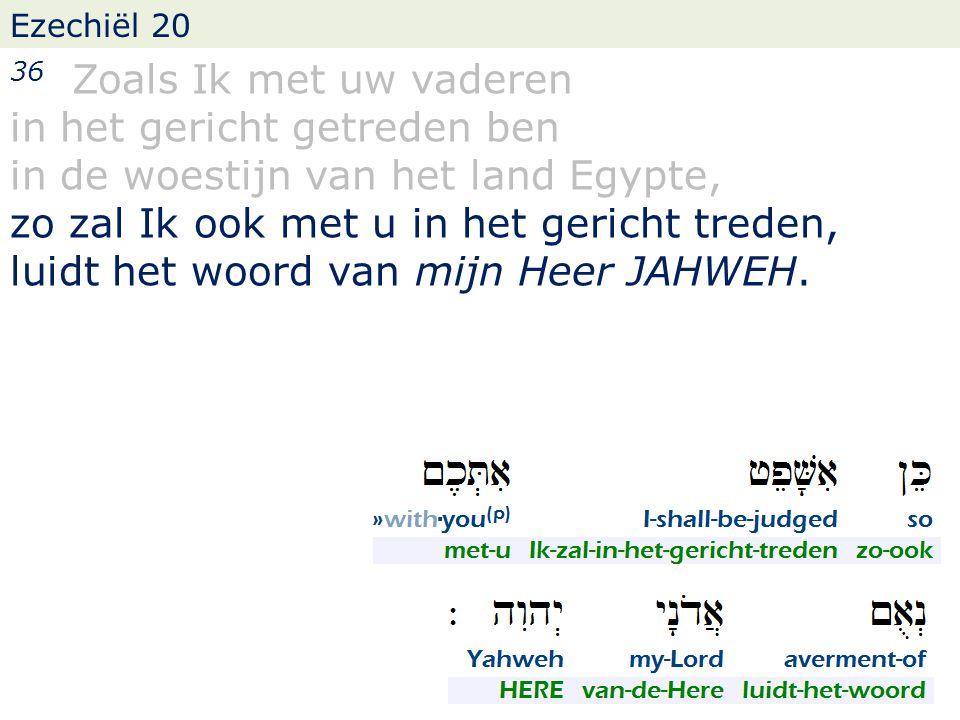Ezechiël 20 36 Zoals Ik met uw vaderen in het gericht getreden ben in de woestijn van het land Egypte, zo zal Ik ook met u in het gericht treden, luidt het woord van mijn Heer JAHWEH.