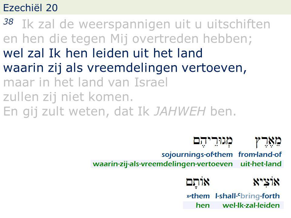 Ezechiël 20 38 Ik zal de weerspannigen uit u uitschiften en hen die tegen Mij overtreden hebben; wel zal Ik hen leiden uit het land waarin zij als vreemdelingen vertoeven, maar in het land van Israel zullen zij niet komen.