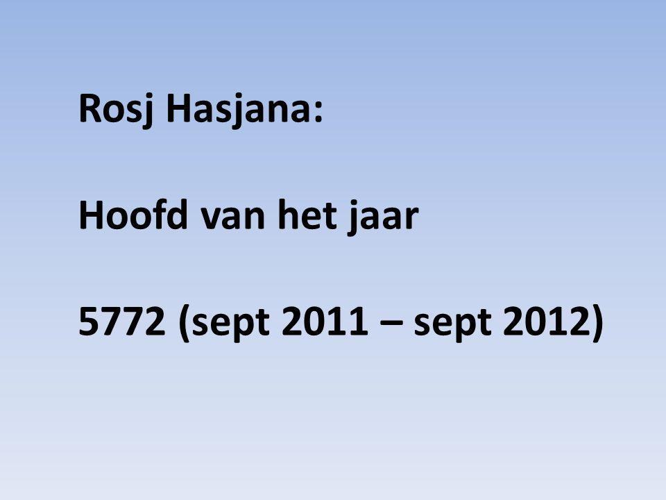 Rosj Hasjana: Hoofd van het jaar 5772 (sept 2011 – sept 2012)