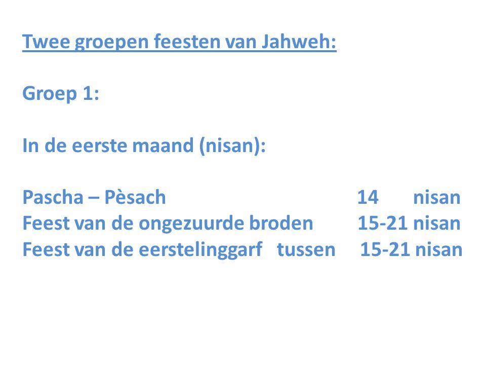 Twee groepen feesten van Jahweh: Groep 1: In de eerste maand (nisan): Pascha – Pèsach 14 nisan Feest van de ongezuurde broden 15-21 nisan Feest van de