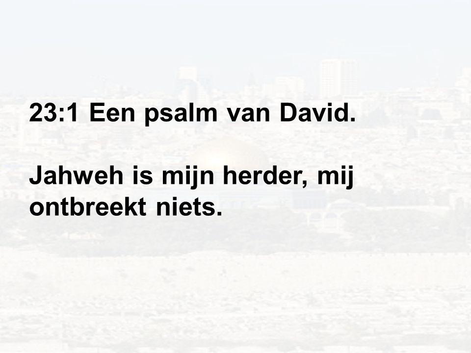 23:1 Een psalm van David. Jahweh is mijn herder, mij ontbreekt niets.