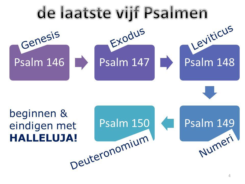 Psalm 146Psalm 147Psalm 148Psalm 149Psalm 150 beginnen & eindigen met HALLELUJA.