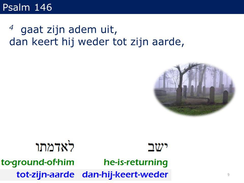 4 gaat zijn adem uit, dan keert hij weder tot zijn aarde, Psalm 146 9