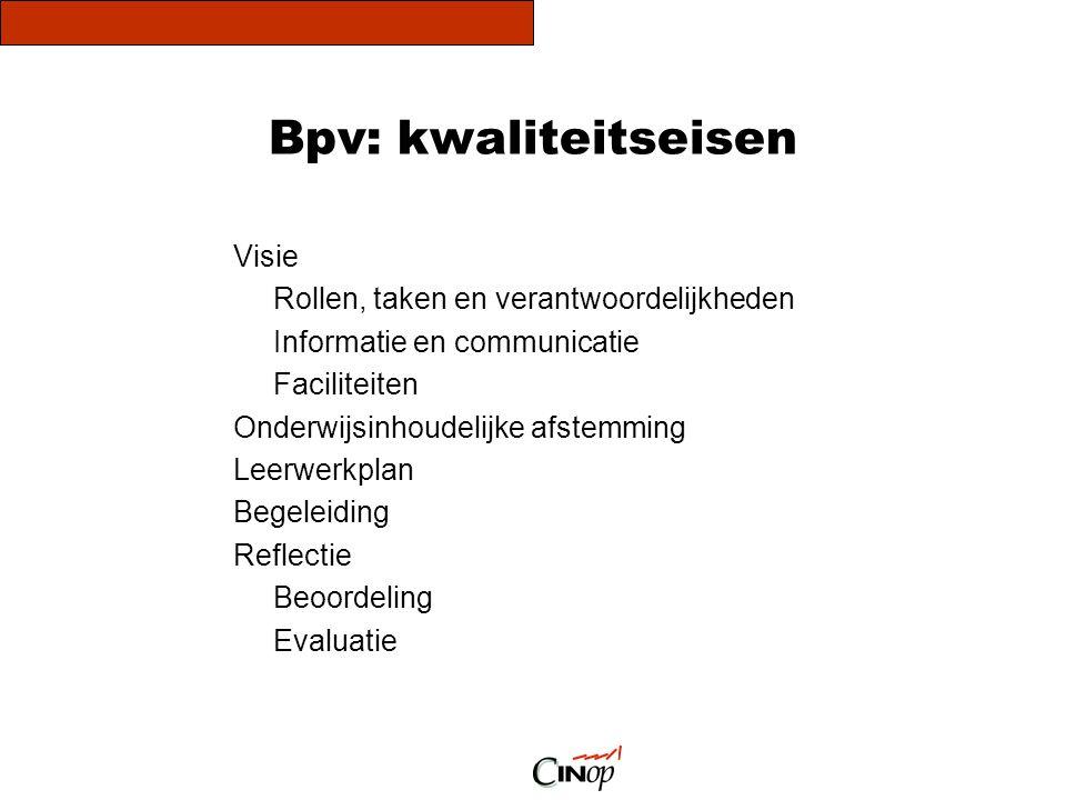 Bpv: kwaliteitseisen Visie Rollen, taken en verantwoordelijkheden Informatie en communicatie Faciliteiten Onderwijsinhoudelijke afstemming Leerwerkpla