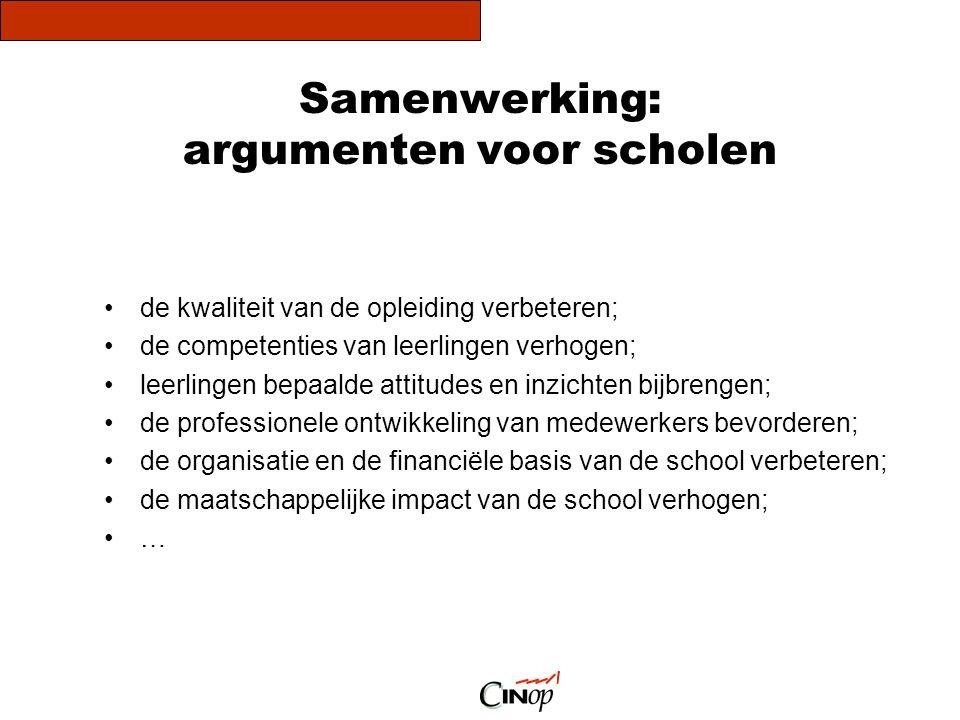 Samenwerking: argumenten voor scholen de kwaliteit van de opleiding verbeteren; de competenties van leerlingen verhogen; leerlingen bepaalde attitudes
