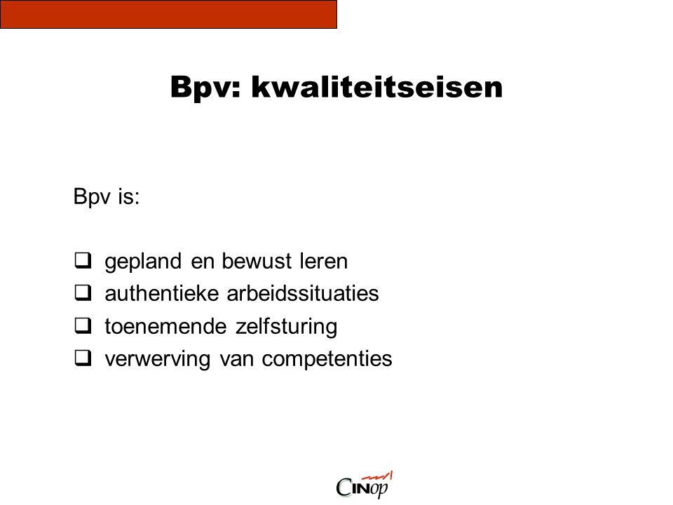 Bpv: kwaliteitseisen Onderzoeken naar kwaliteit Aspecten van kwaliteit:  visie1 eis  organisatie3 eisen  inhoud4 eisen  evaluatie2 eisen Implementatie