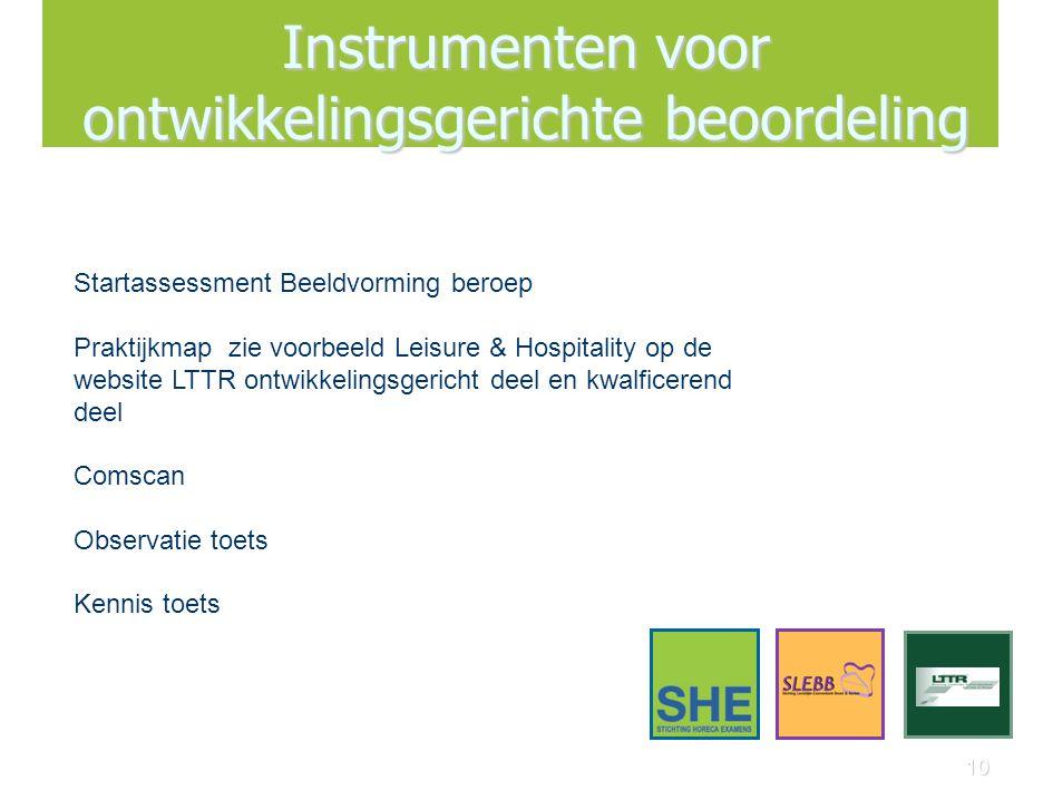 10 Instrumenten voor ontwikkelingsgerichte beoordeling Startassessment Beeldvorming beroep Praktijkmap zie voorbeeld Leisure & Hospitality op de websi