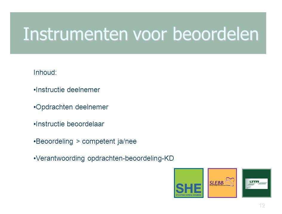 12 Instrumenten voor beoordelen Inhoud: Instructie deelnemer Opdrachten deelnemer Instructie beoordelaar Beoordeling > competent ja/nee Verantwoording