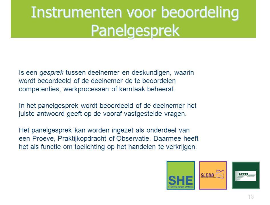 16 Instrumenten voor beoordeling Panelgesprek Is een gesprek tussen deelnemer en deskundigen, waarin wordt beoordeeld of de deelnemer de te beoordelen