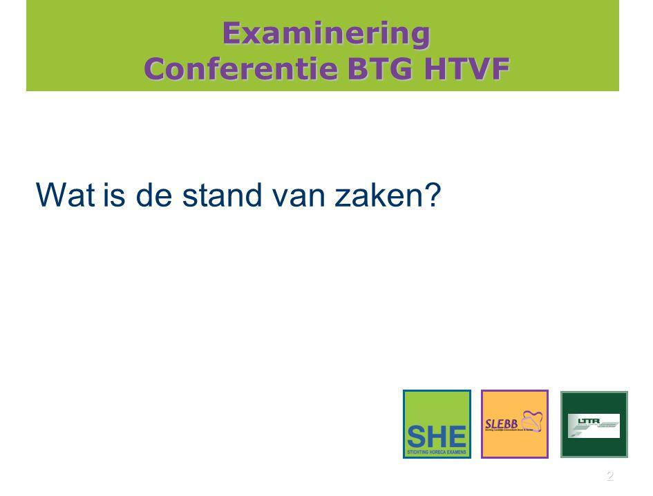 2 Examinering Conferentie BTG HTVF Wat is de stand van zaken?