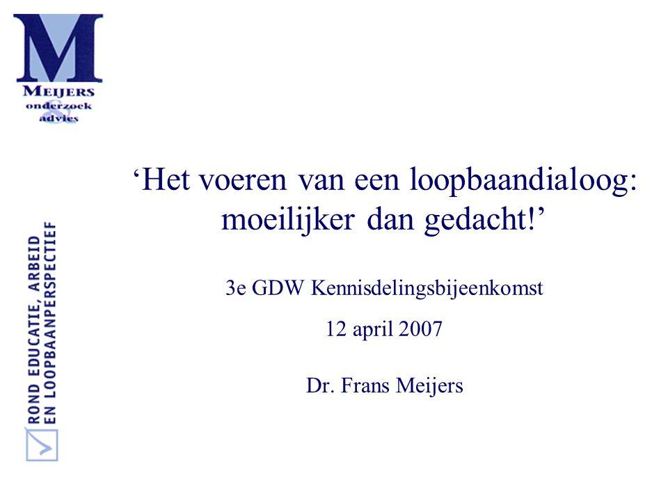 ' Het voeren van een loopbaandialoog: moeilijker dan gedacht!' 3e GDW Kennisdelingsbijeenkomst 12 april 2007 Dr. Frans Meijers