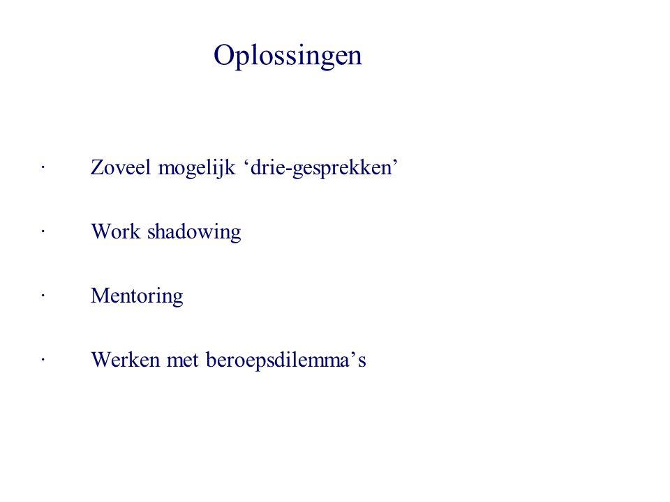 Oplossingen · Zoveel mogelijk 'drie-gesprekken' · Work shadowing · Mentoring · Werken met beroepsdilemma's