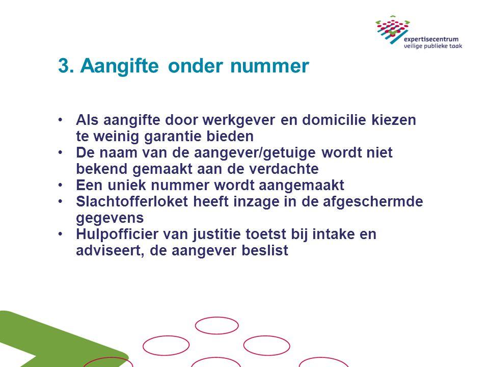 3. Aangifte onder nummer Als aangifte door werkgever en domicilie kiezen te weinig garantie bieden De naam van de aangever/getuige wordt niet bekend g