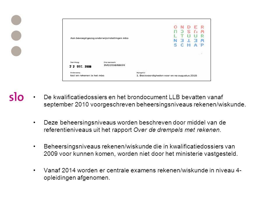 De kwalificatiedossiers en het brondocument LLB bevatten vanaf september 2010 voorgeschreven beheersingsniveaus rekenen/wiskunde. Deze beheersingsnive