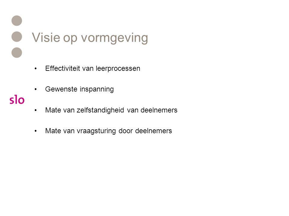 Visie op vormgeving Effectiviteit van leerprocessen Gewenste inspanning Mate van zelfstandigheid van deelnemers Mate van vraagsturing door deelnemers