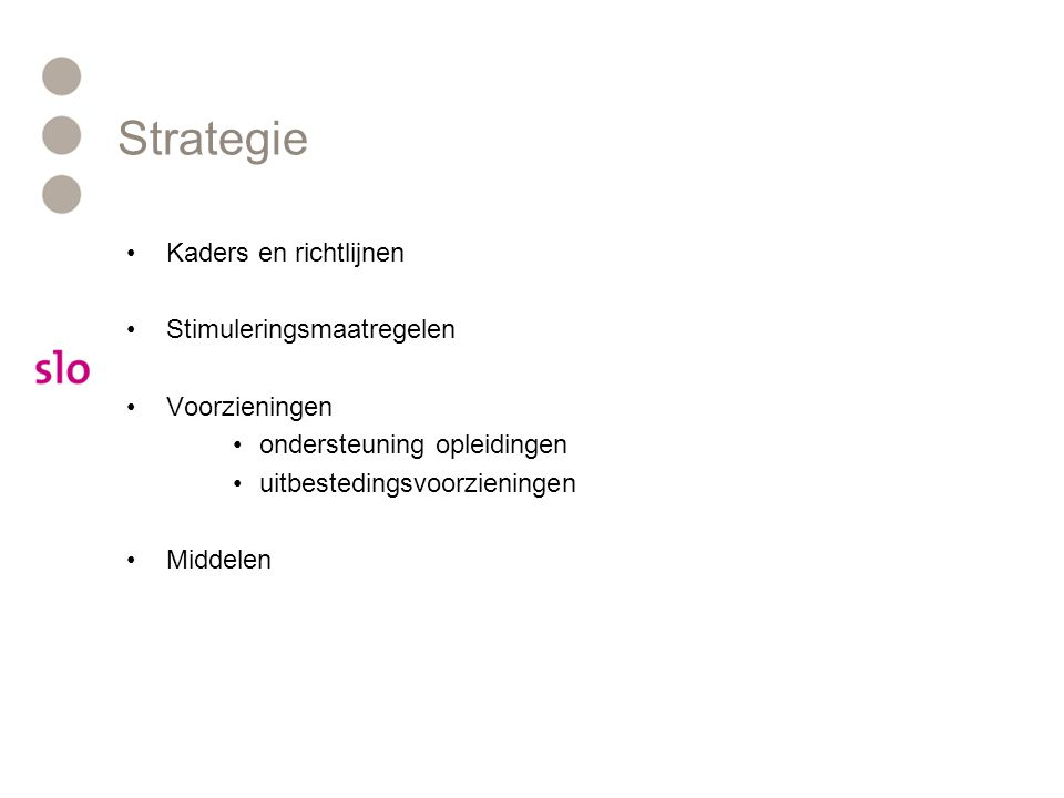 Strategie Kaders en richtlijnen Stimuleringsmaatregelen Voorzieningen ondersteuning opleidingen uitbestedingsvoorzieningen Middelen