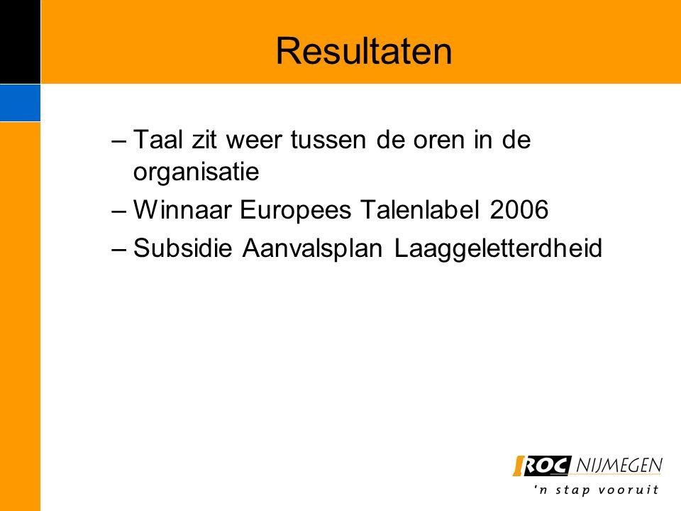 Resultaten –Taal zit weer tussen de oren in de organisatie –Winnaar Europees Talenlabel 2006 –Subsidie Aanvalsplan Laaggeletterdheid