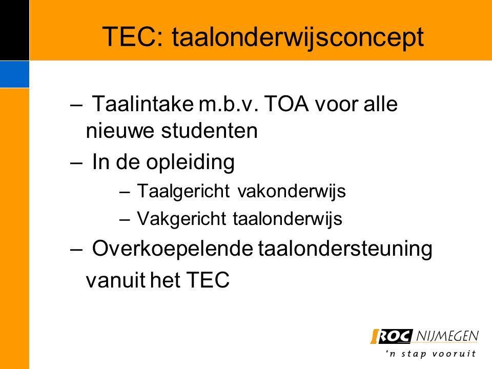 TEC: taalonderwijsconcept – Taalintake m.b.v. TOA voor alle nieuwe studenten – In de opleiding – Taalgericht vakonderwijs – Vakgericht taalonderwijs –