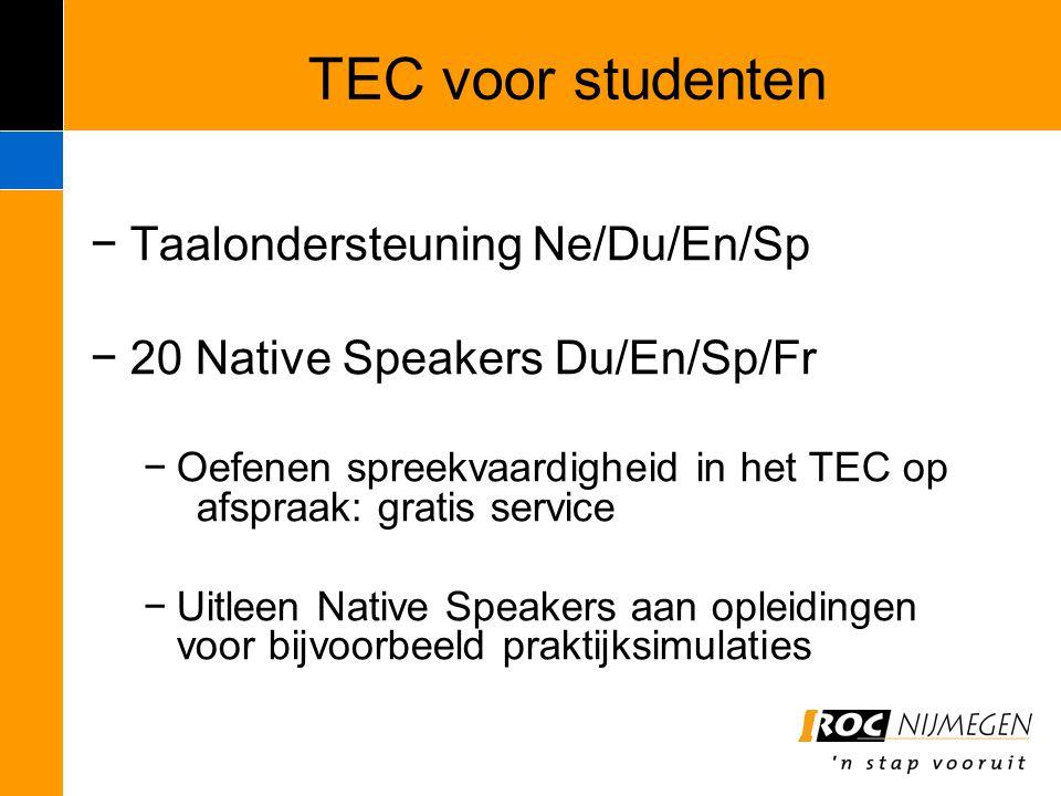 TEC voor studenten −Taalondersteuning Ne/Du/En/Sp −20 Native Speakers Du/En/Sp/Fr −Oefenen spreekvaardigheid in het TEC op afspraak: gratis service −U