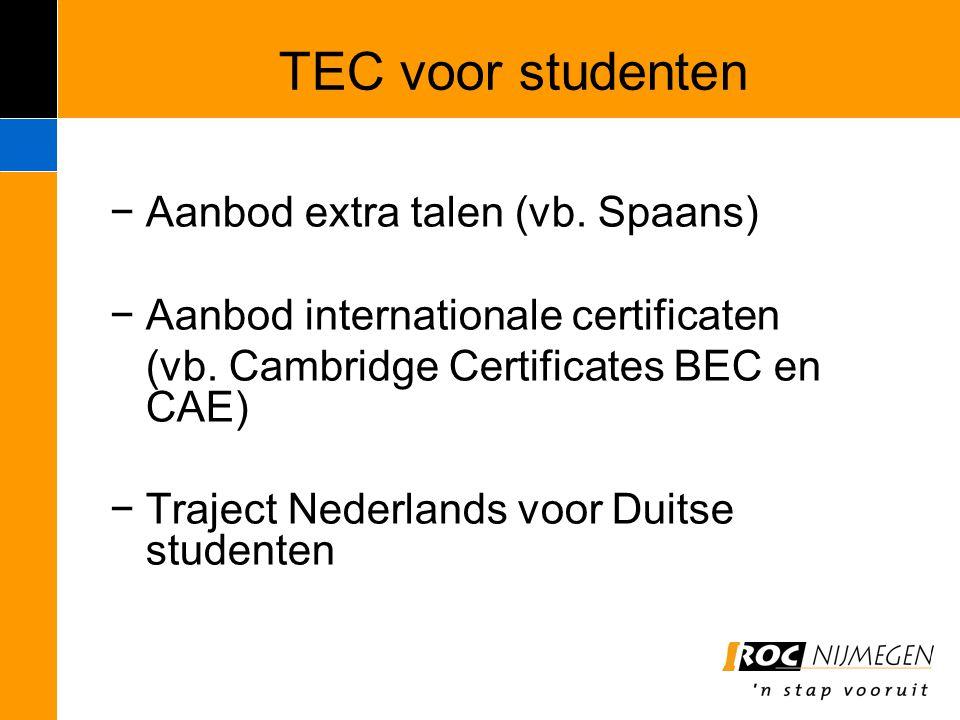 TEC voor studenten −Aanbod extra talen (vb. Spaans) −Aanbod internationale certificaten (vb. Cambridge Certificates BEC en CAE) −Traject Nederlands vo