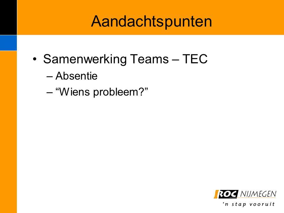 "Aandachtspunten Samenwerking Teams – TEC –Absentie –""Wiens probleem?"""