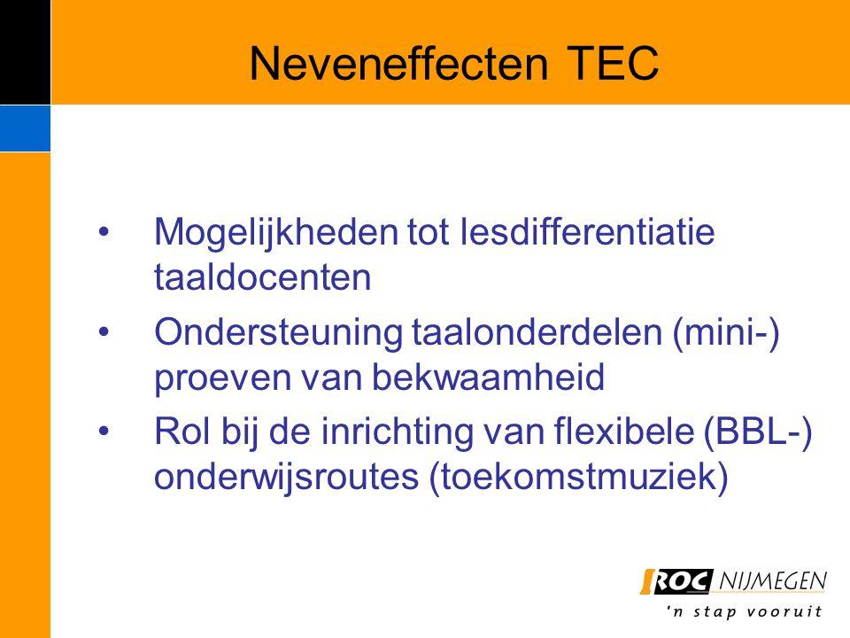 Neveneffecten TEC Mogelijkheden tot lesdifferentiatie taaldocenten Ondersteuning taalonderdelen (mini-) proeven van bekwaamheid Rol bij de inrichting